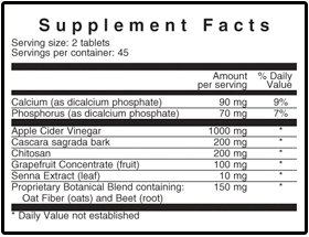 Co-Clean Supplement Facts